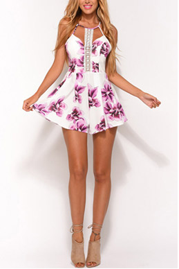 Random Floral Print Sleeveless Playsuit with Lace Details SKU423952