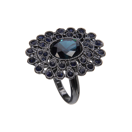 Faceted Stones Ring with Diamante Embellishment