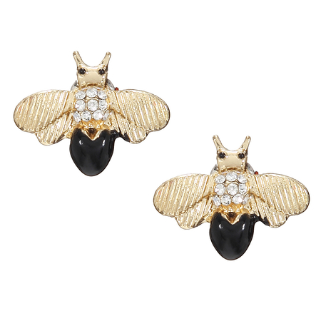 Black Shiny Bee Stud Earrings