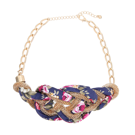 Fabric & Snake Chain Choker Necklace