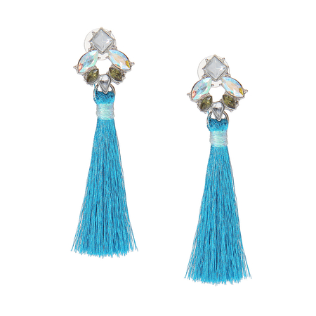 Jewel Earrings with Tassel Detail