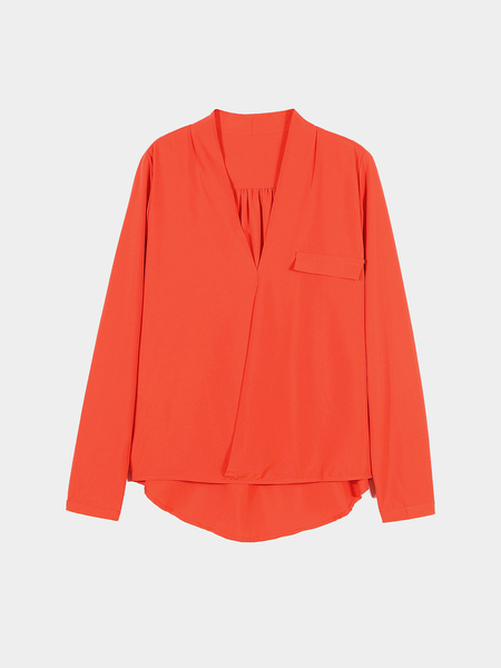 Orange V-Neck Blouse