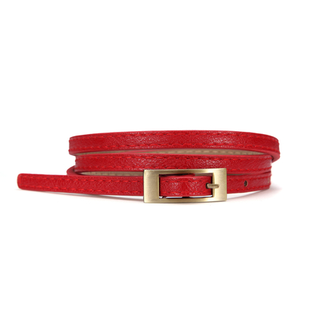 Thin Belt With Small Buckle In Red