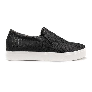 Black Snake Print Slip On Plimsolls