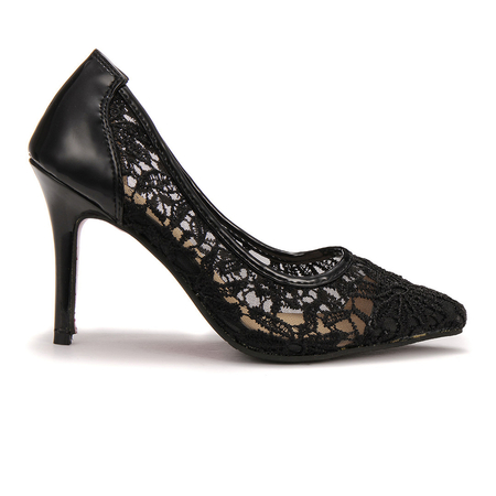 High-heel Lace Pointed Toe Pump