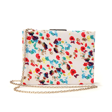 Statement Clutch Bag With Floral Print