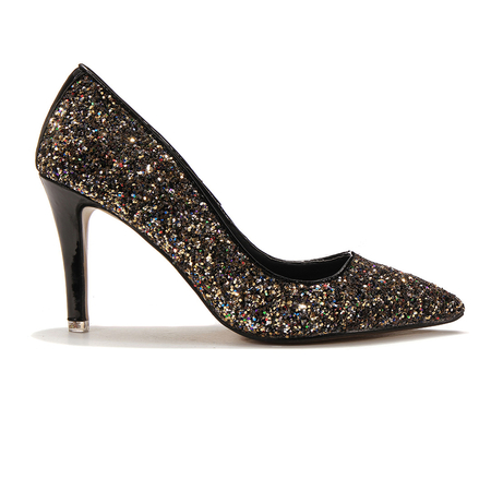 Pointed High Heels With Sequin Detail