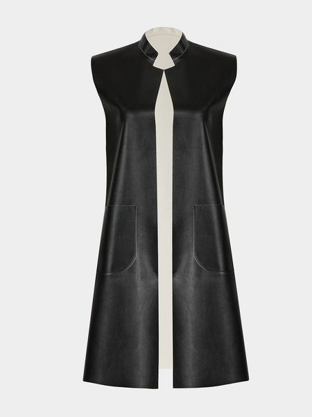 Sleeveless Gilet in Leather Look