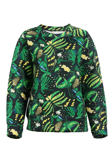 Green Printed Crew Sweatshirt