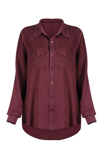 Red Lapel Long Sleeve Shirt