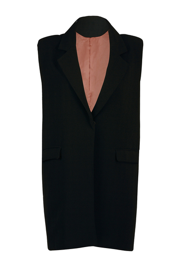 Black Gilet with Single Button