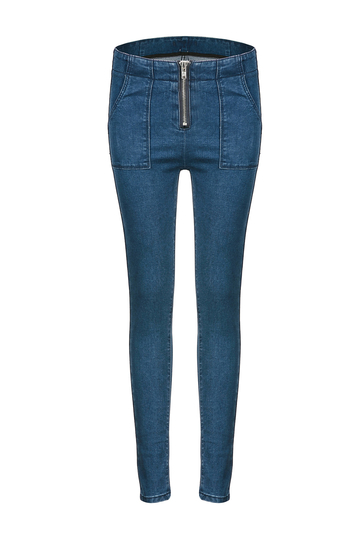 High-rise Waist Jeans with Zip detail