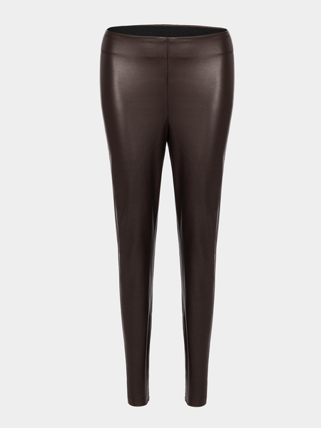 Coffee Leather Leggings