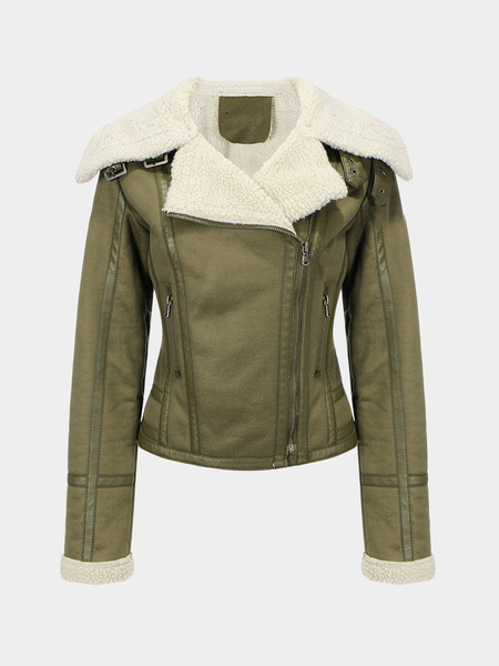 Jacket with Faux Shearling Lapel