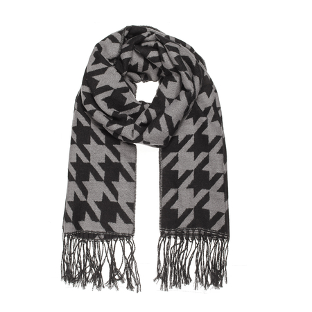 Houndstooth Scarf with Tassels