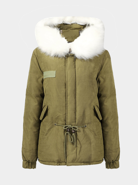Parka Coat with Faux Fur Trimmed Hood