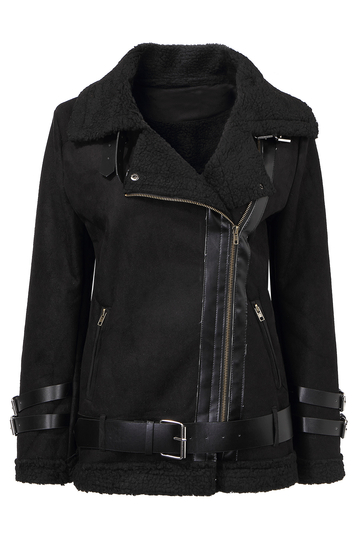 Black Biker Jacket with Shearling Collar