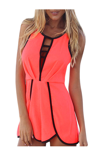 Sleeveless Playsuit  With Overlay Shorts