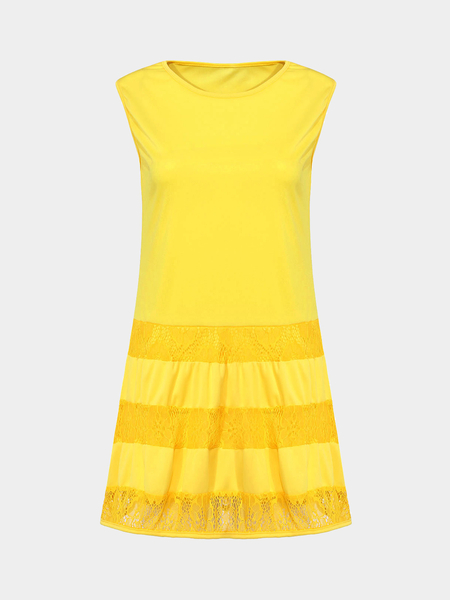 Yellow Layered Dress With Lace Insert