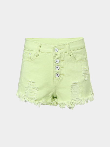 Fringe Ripped Denim Shorts