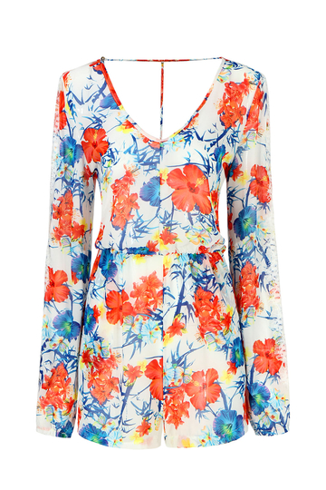 Long Sleeve Floral Print Playsuit With Lace Detail