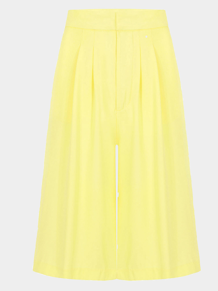 Yellow Chiffon Wide Leg Cropped Trousers