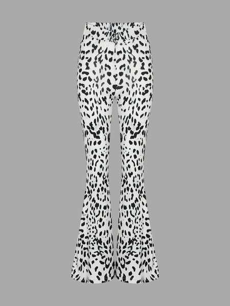 Flare Trousers With Leopard Print