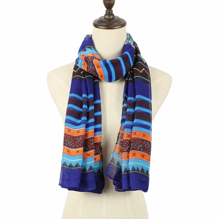 Deep Blue Scarve In Stripe And Wave Print