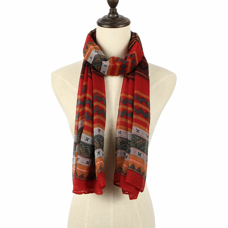 Multi Color Scarve In Stripe And Wave Print