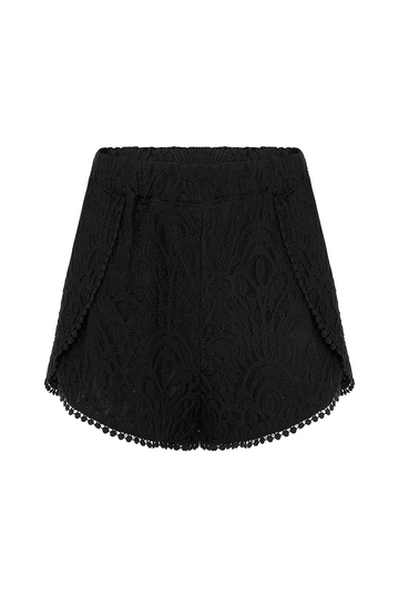Black High-Rise Lace Shorts With Pom Pom Details