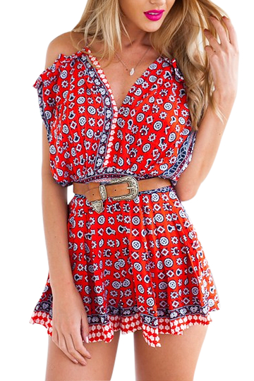 Cold Shoulder Beach Playsuits In Floral Print