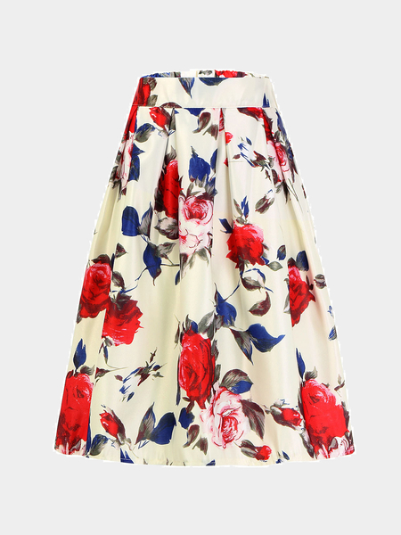 White High-Rise Waist Skirt With Double Flower Print