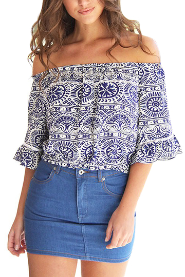 Imprimir Floral Off The Shoulder Top Curto