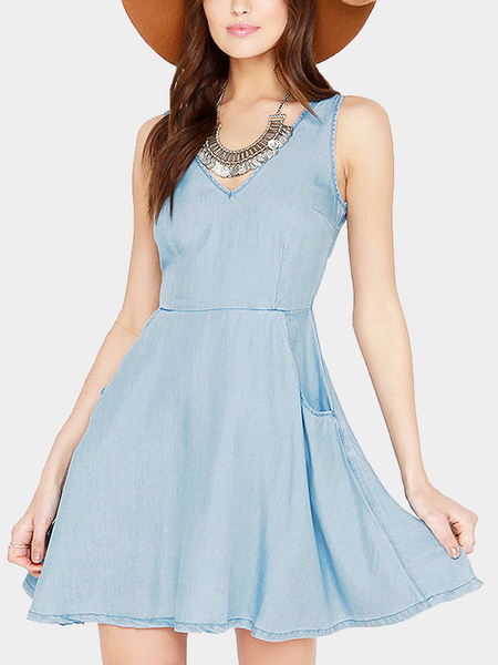 Skyblue V-Back Skater Mini Dress