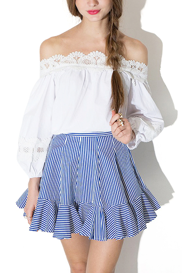 White Off The Shoulder Lace Splice Blouse