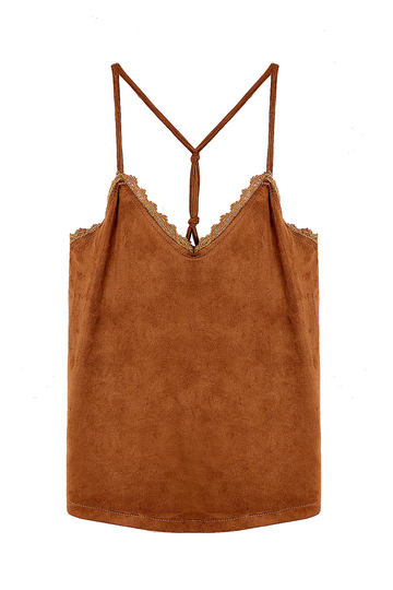 Tan Suedette Petal Trim Cami Top