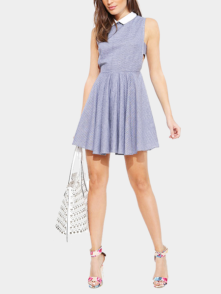Pinstrips Collar Dress
