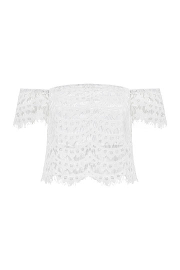 Cropped Off The Shoulder Top In Lace