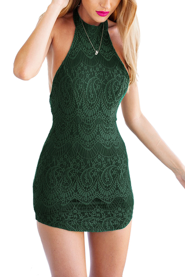 Green Halter Open Back Lace Bodycon Dress