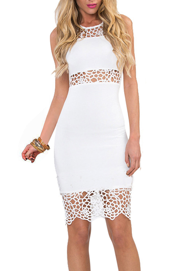 White Bodycon Lace Insert Dress