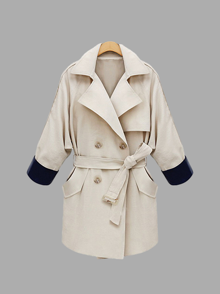 Plus Size Beige Tie-Waist Trench Coat