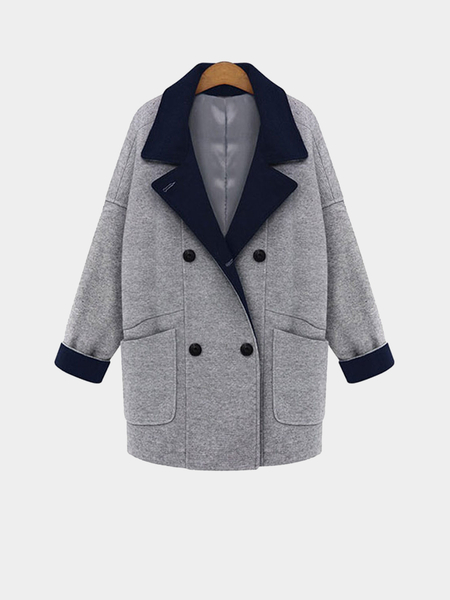 Plus Size Grey Double-Breasted Duster Coat