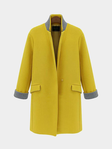 Plus Size Yellow Stand Collar Duffle Coat
