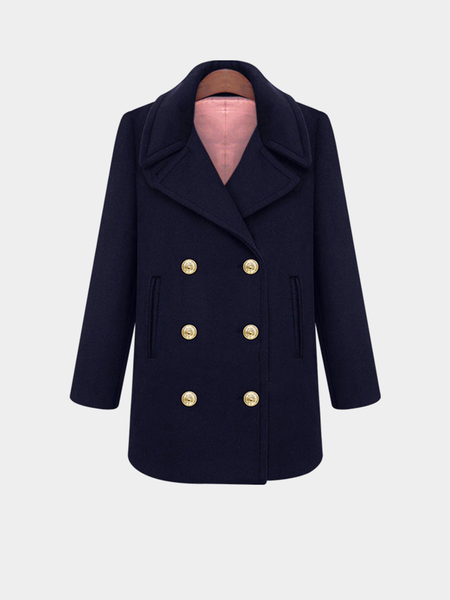 Плюс Размер Double Breasted Navy Duffle Coat