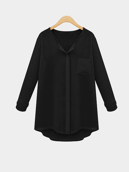Plus Size Black Button Up Shirt