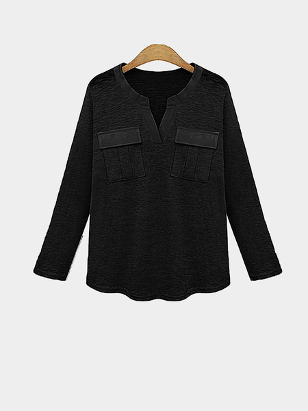 Plus Size Black Chest Pocket Casual Top