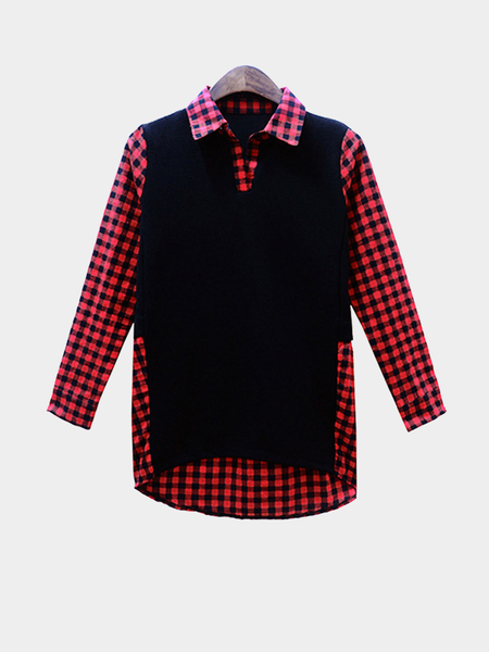 Plus Size Red Checked Spliced Shirt