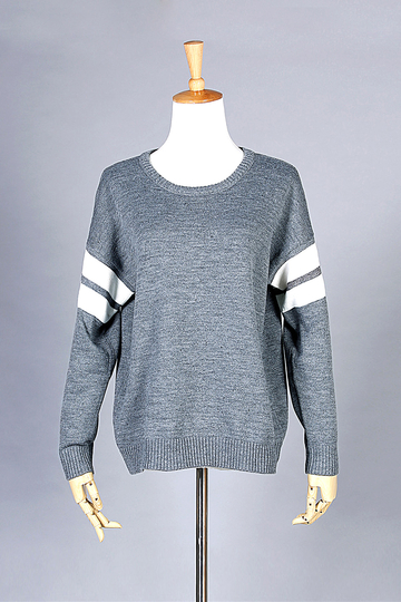 Grey Stripe Sleeve Loose Sweater