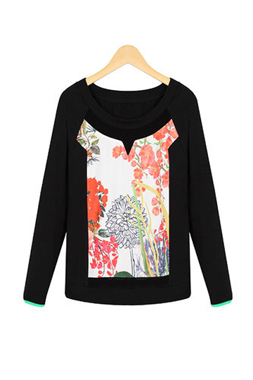 Floral Printing Long Sleeve Top