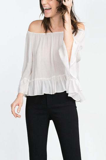 White Off-the shoulder Frill Blouse